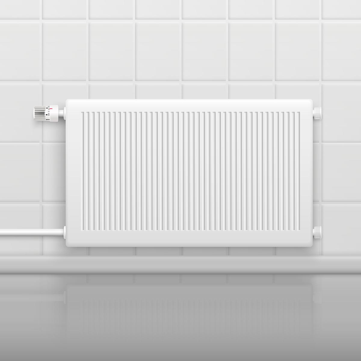 Hor water radiator heating with temperature control knob on tiled wall side view realistic image vector illustration